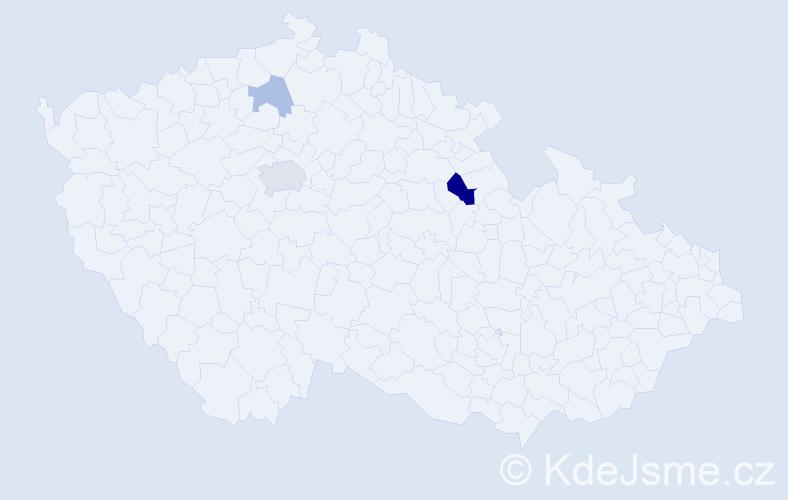 Příjmení: 'Cetel', počet výskytů 7 v celé ČR