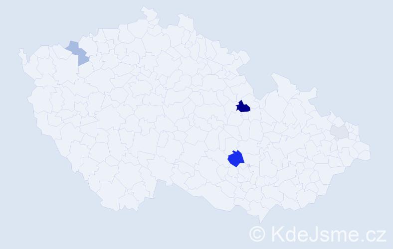 Příjmení: 'Depeš', počet výskytů 9 v celé ČR