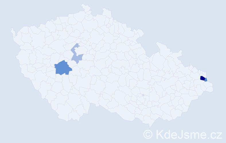 Příjmení: 'Kaplánová', počet výskytů 10 v celé ČR