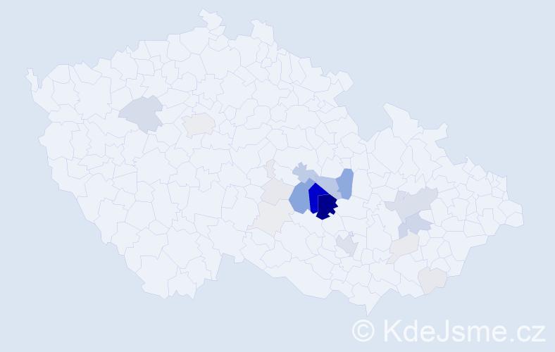 Příjmení: 'Hanych', počet výskytů 89 v celé ČR