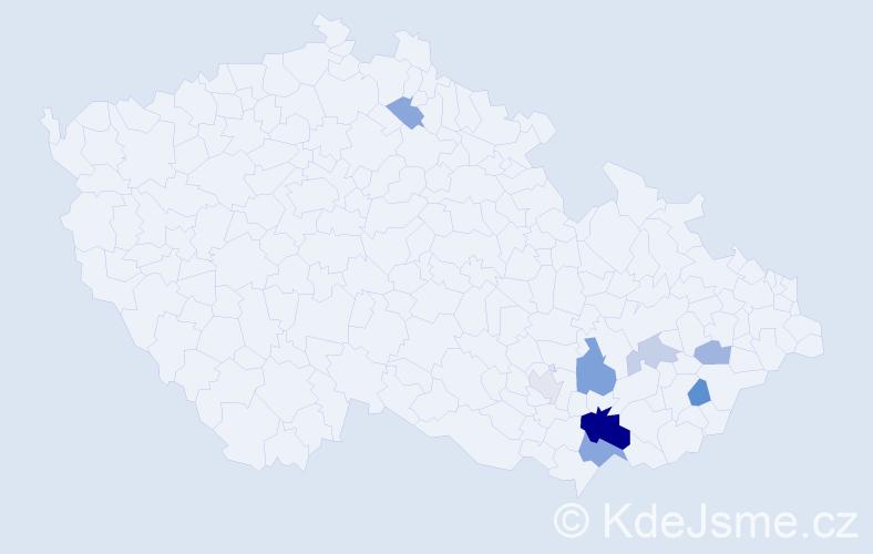 Příjmení: 'Latík', počet výskytů 17 v celé ČR
