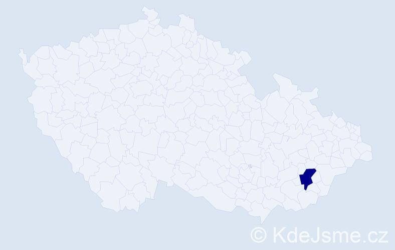 """Příjmení: '""""Maděrová Hudečková""""', počet výskytů 1 v celé ČR"""