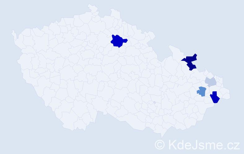 Příjmení: 'Bányácská', počet výskytů 7 v celé ČR