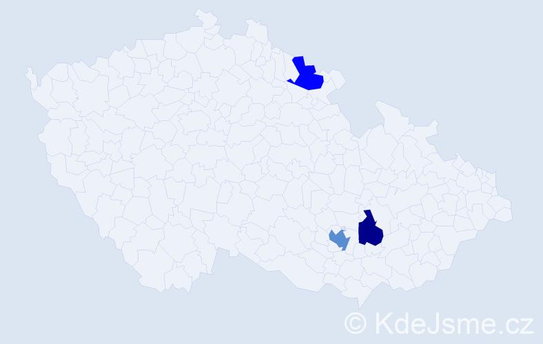 Příjmení: 'Hrozina', počet výskytů 4 v celé ČR
