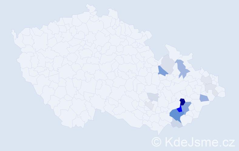 Příjmení: 'Lahola', počet výskytů 47 v celé ČR