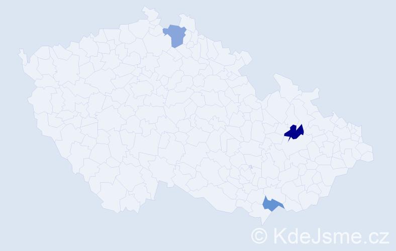 Příjmení: 'Bošuková', počet výskytů 3 v celé ČR