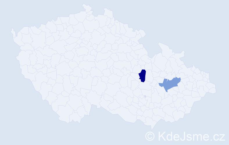 Příjmení: 'Kafún', počet výskytů 2 v celé ČR