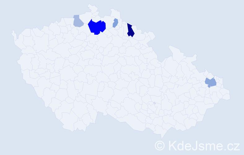 Příjmení: 'Esentierová', počet výskytů 11 v celé ČR
