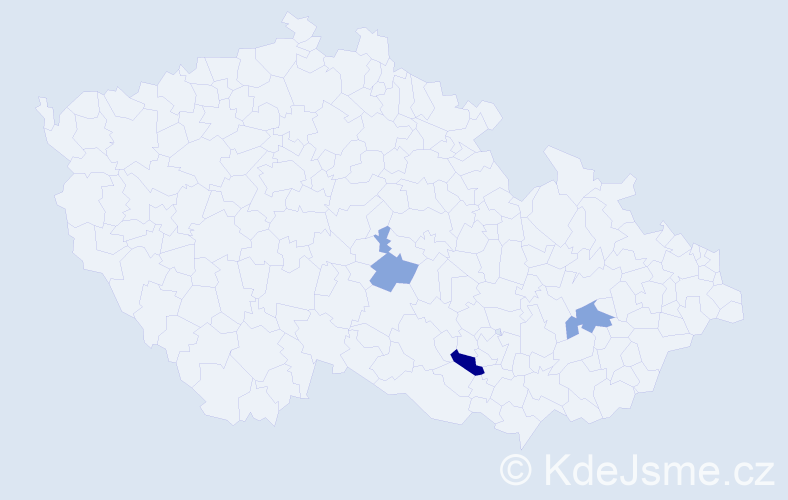 Příjmení: 'Ďurtová', počet výskytů 9 v celé ČR