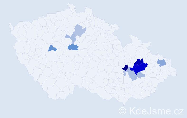 Příjmení: 'Láhnerová', počet výskytů 23 v celé ČR
