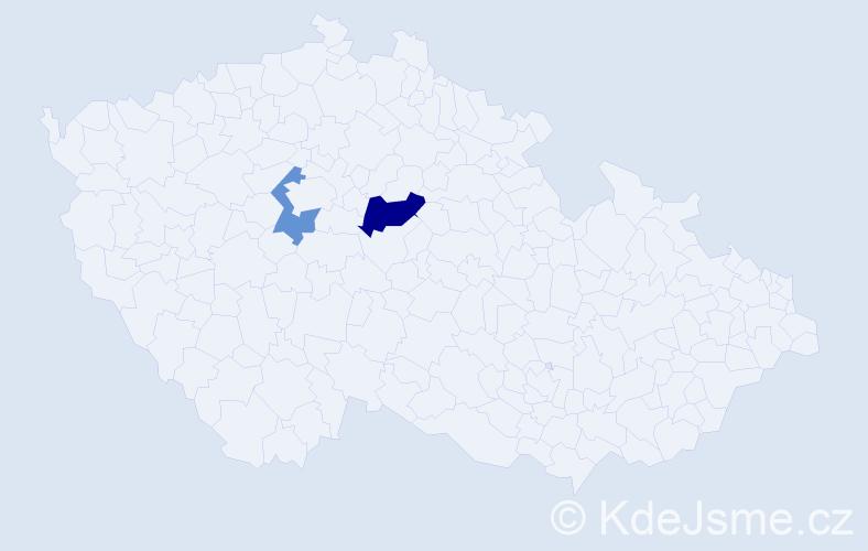 Příjmení: 'Gač', počet výskytů 6 v celé ČR