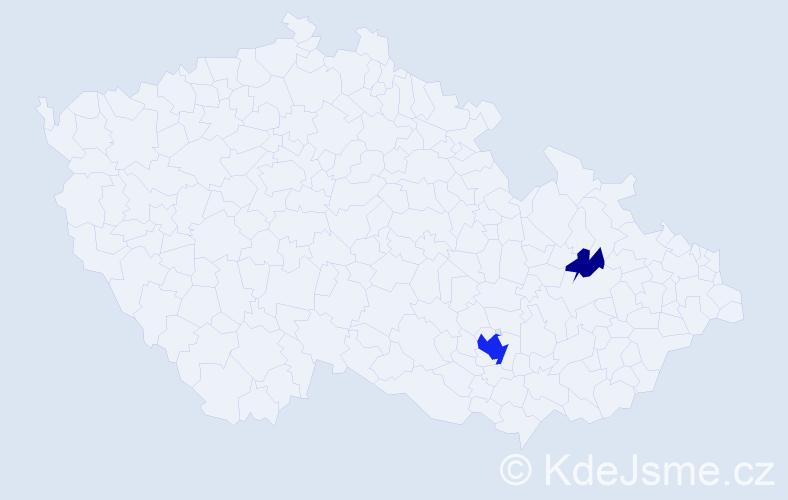 Příjmení: 'Hugyár', počet výskytů 8 v celé ČR