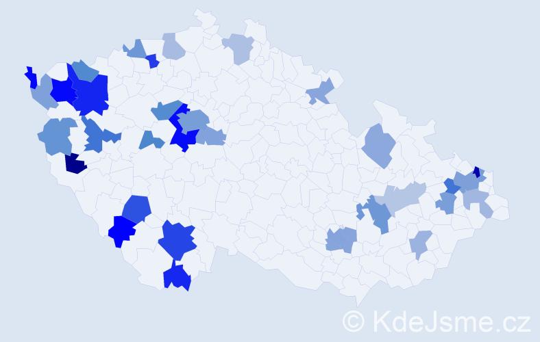 Příjmení: 'Faber', počet výskytů 73 v celé ČR