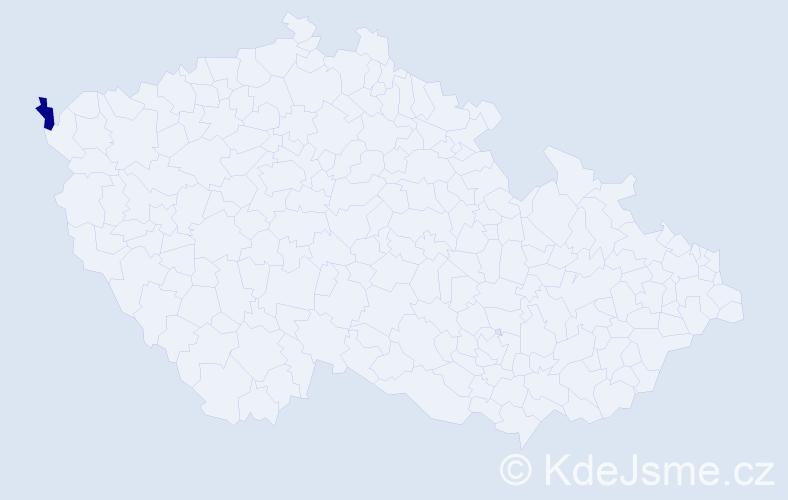 """Příjmení: '""""Flachs Krátká""""', počet výskytů 1 v celé ČR"""