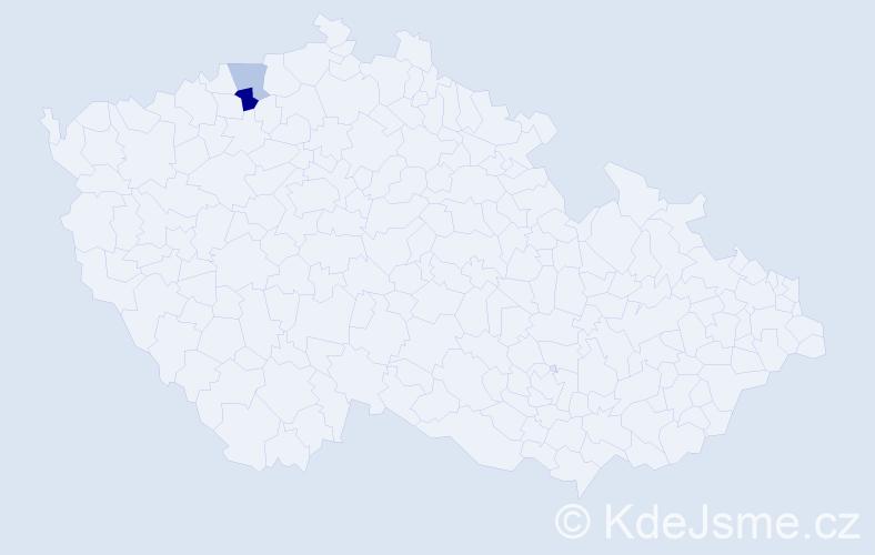 Příjmení: 'Tober', počet výskytů 3 v celé ČR