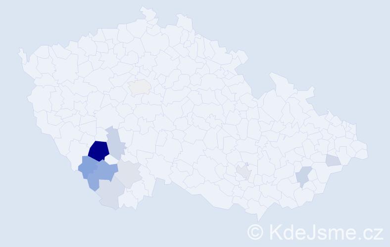 Příjmení: 'Frnoch', počet výskytů 40 v celé ČR