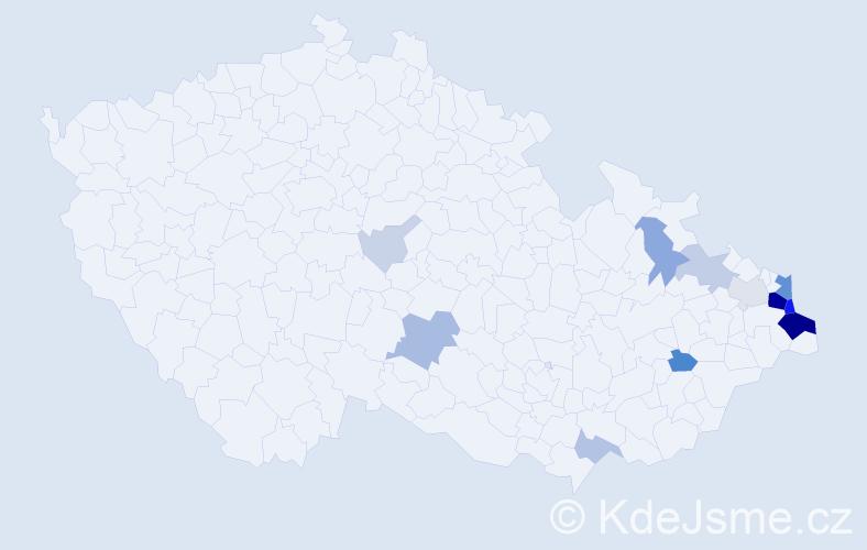Příjmení: 'Kiedroň', počet výskytů 60 v celé ČR