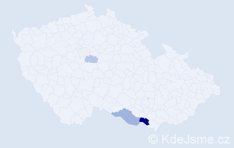 Příjmení: 'Burcin', počet výskytů 7 v celé ČR