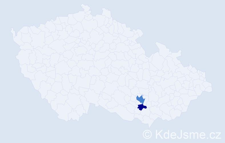 Příjmení: 'Čába', počet výskytů 5 v celé ČR