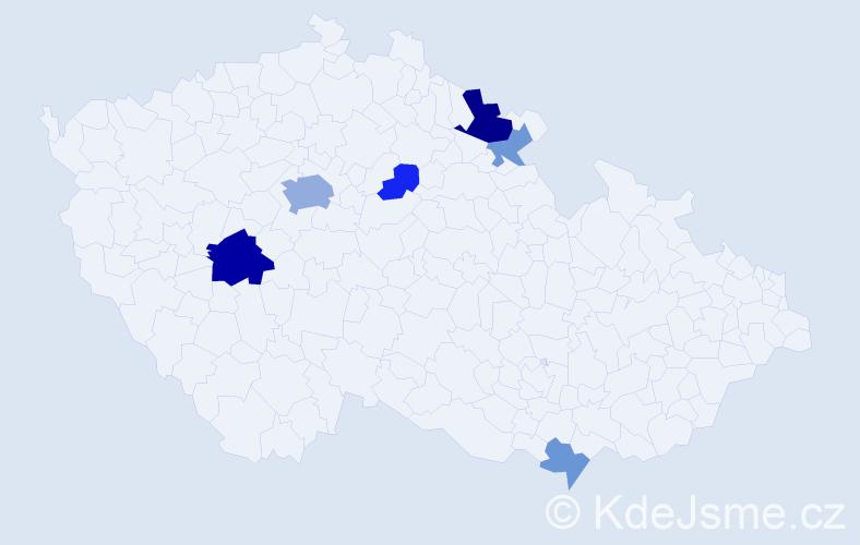 Příjmení: 'Hadererová', počet výskytů 15 v celé ČR