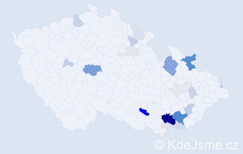 Příjmení: 'Čožíková', počet výskytů 78 v celé ČR