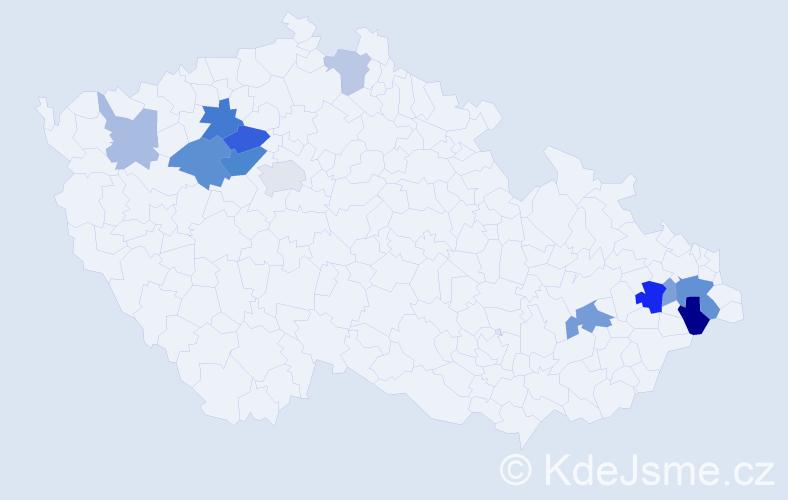 Příjmení: 'Eitlerová', počet výskytů 25 v celé ČR
