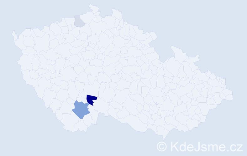 Příjmení: 'Jináček', počet výskytů 10 v celé ČR