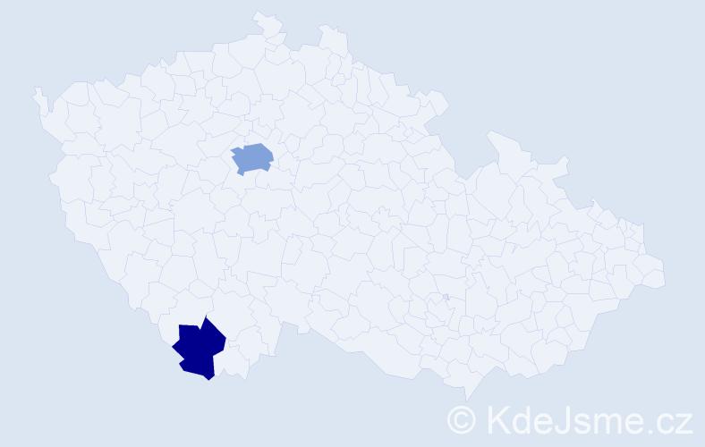 Příjmení: 'Belcher', počet výskytů 5 v celé ČR