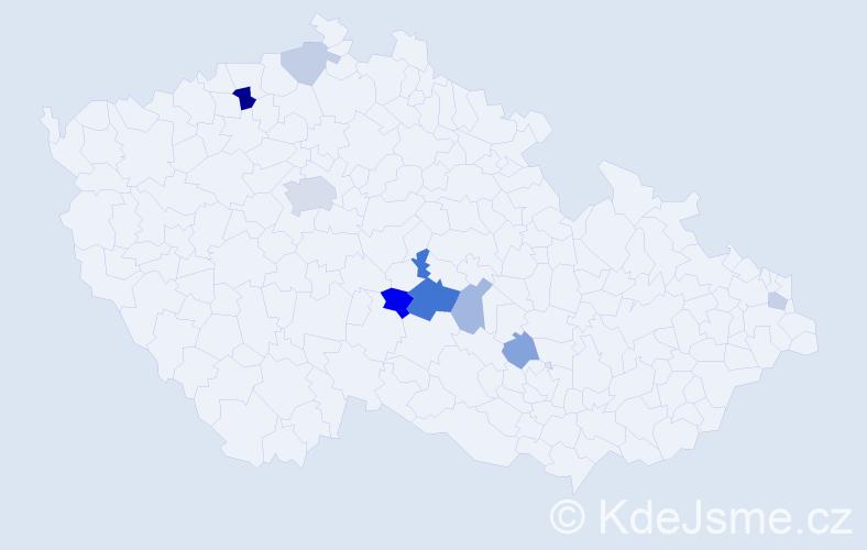 Příjmení: 'Hraboš', počet výskytů 18 v celé ČR