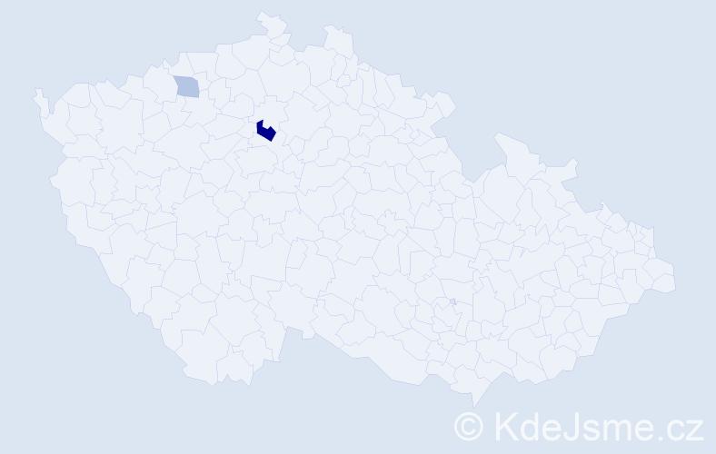 Příjmení: 'Čečelický', počet výskytů 9 v celé ČR