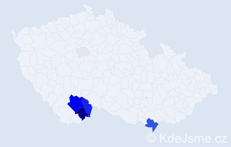 Příjmení: 'Benischek', počet výskytů 10 v celé ČR