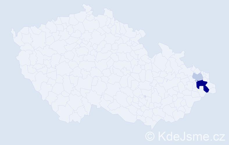 Příjmení: 'Juřičná', počet výskytů 5 v celé ČR