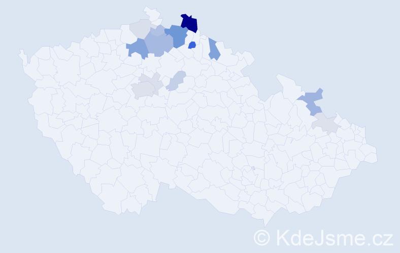 Příjmení: 'Čmuchálková', počet výskytů 43 v celé ČR