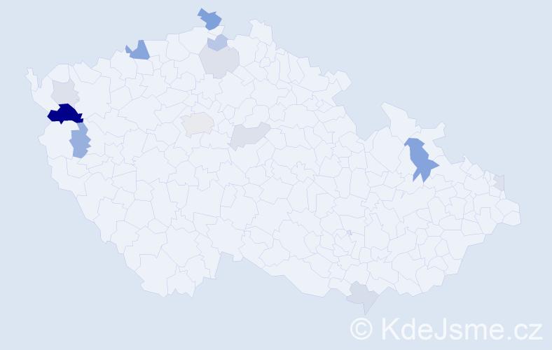Příjmení: 'Lazurová', počet výskytů 28 v celé ČR