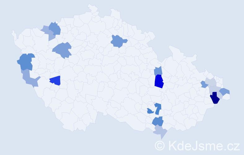 Příjmení: 'Jucha', počet výskytů 32 v celé ČR