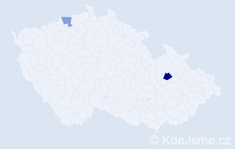 Příjmení: 'Celichová', počet výskytů 2 v celé ČR