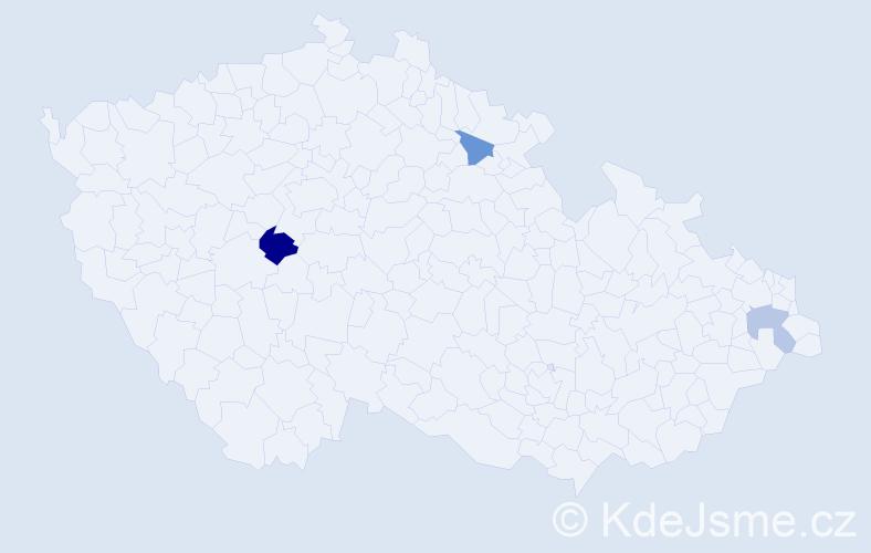 Příjmení: 'Bičárová', počet výskytů 4 v celé ČR