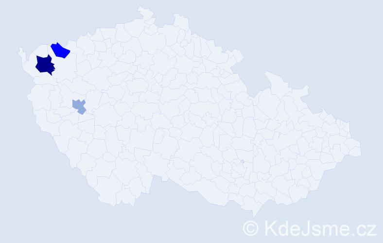 Příjmení: 'Hanuščin', počet výskytů 5 v celé ČR