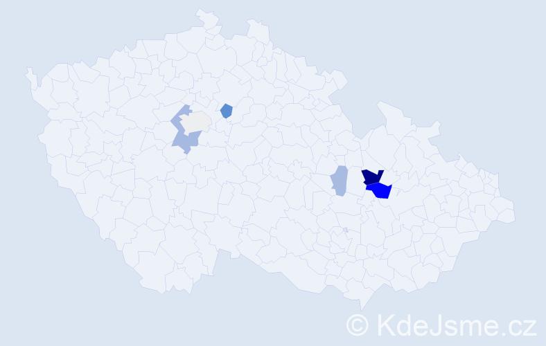 Příjmení: 'Haic', počet výskytů 15 v celé ČR
