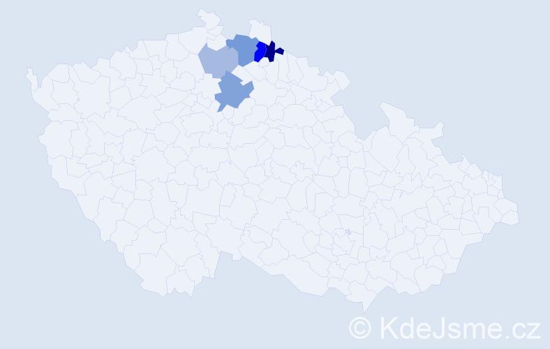 Příjmení: 'Hanvald', počet výskytů 12 v celé ČR