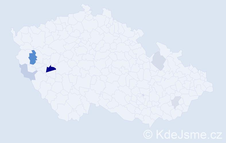 Příjmení: 'Hrobařík', počet výskytů 8 v celé ČR
