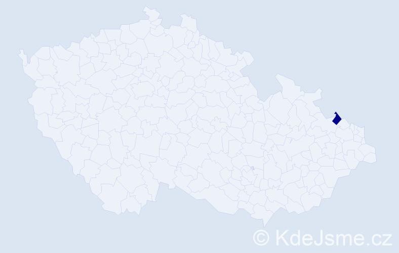 Příjmení: 'Čála', počet výskytů 1 v celé ČR