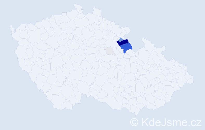 Příjmení: 'Jiroud', počet výskytů 21 v celé ČR