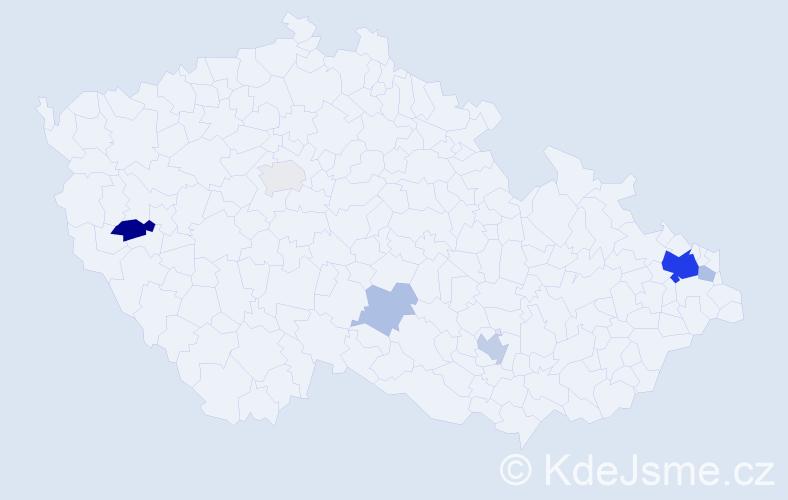 Příjmení: 'Belina', počet výskytů 19 v celé ČR