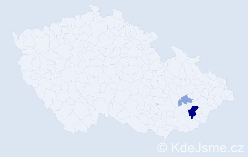 Příjmení: 'Burdi', počet výskytů 6 v celé ČR