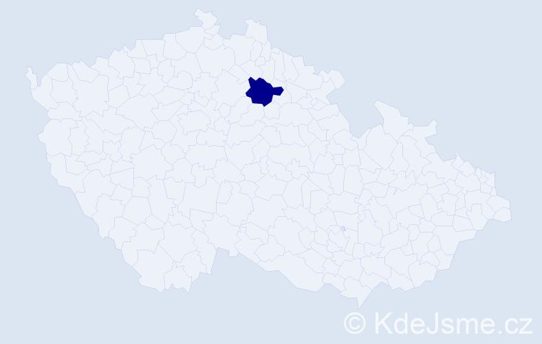"""Příjmení: '""""Eliášová Šťovíčková""""', počet výskytů 1 v celé ČR"""