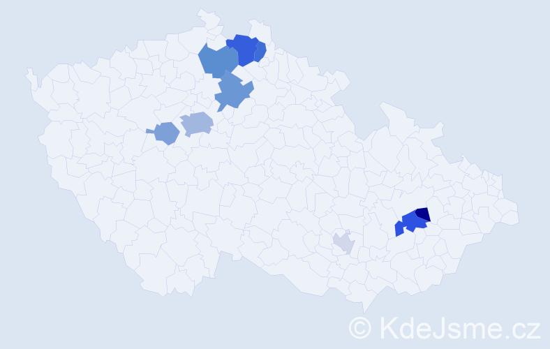 Příjmení: 'Kadlas', počet výskytů 23 v celé ČR