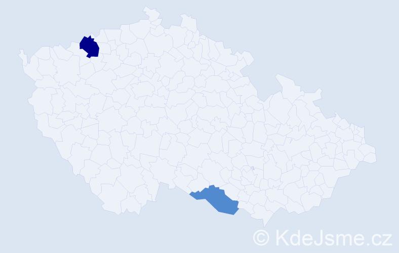 Příjmení: 'Klubica', počet výskytů 6 v celé ČR