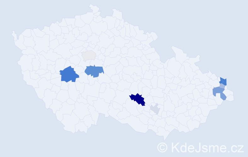 Příjmení: 'Čižmarik', počet výskytů 18 v celé ČR