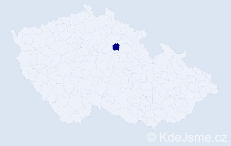 """Příjmení: '""""Borůvková Mikešová""""', počet výskytů 1 v celé ČR"""